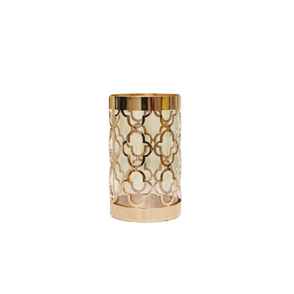 ガラス花瓶 ミニマリストの花スタンドメタル中空ガラス花瓶(20×12cm) B07SZ4LTQP