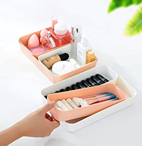 Soft Plastic Drawer Organzier Storage Tray Bins Set for Kitchen Dresser Bathroom Bedroom Office Desk Closet. 2 Large + 4 Medium