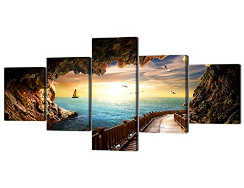 - Landscape Sunset Seagulls Stone Scene Picture Modern Painting on Canvas 5 Panels Framed Wall Art for Living Room Bedroom Kitchen Home Decor Stretched Gallery Canvas Wrap Giclee Print (50''W x 24''H)
