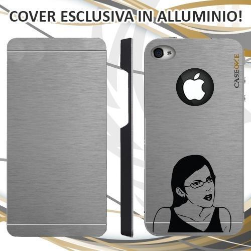 CUSTODIA COVER CASE MEME DONNA PER IPHONE 4S ALLUMINIO TRASPARENTE