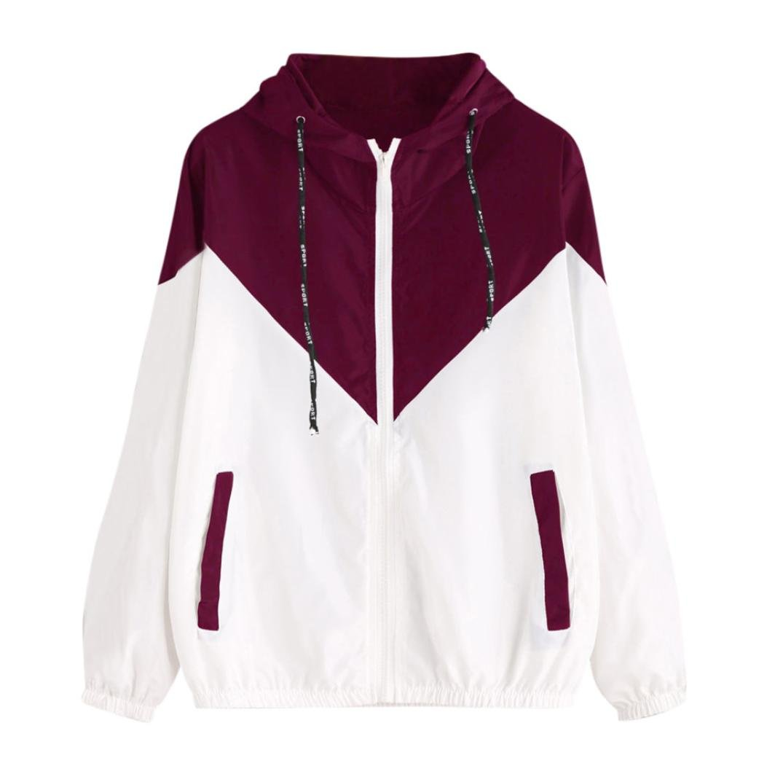 Pandaie Women Jacket,Women Long Sleeve Patchwork Thin Skinsuits Hooded Zipper Pocket Sport Coat RD/XL