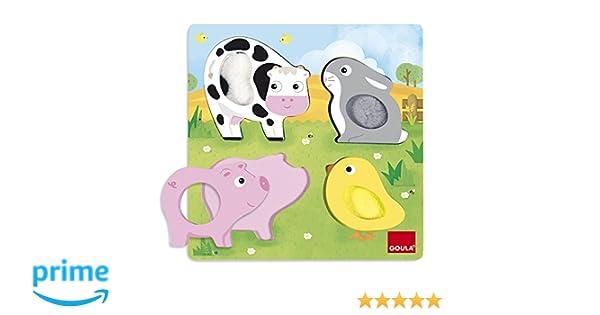 Goula- Puzzle Encajes Animales Tela 22x22, 22 x 22 cm (53055)