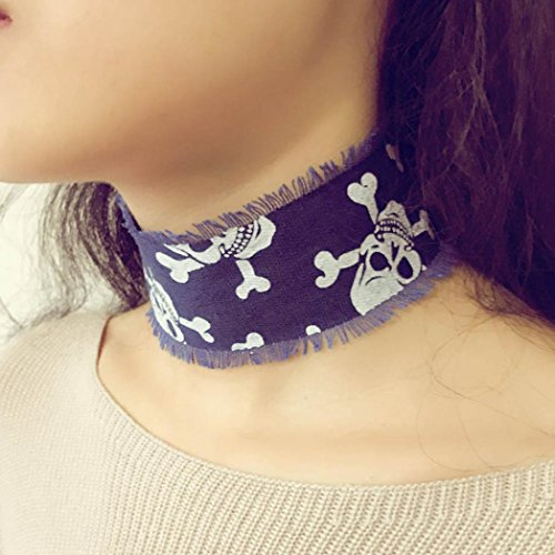 Fheaven Vintage Chic Choker Exaggeration Denim Belt Collar Necklace Gothic Harness Necklace (B)