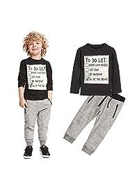 Doinshop 1Set Kids Boys Handsome Black T-shirts+ Gray Casual Warm Pants