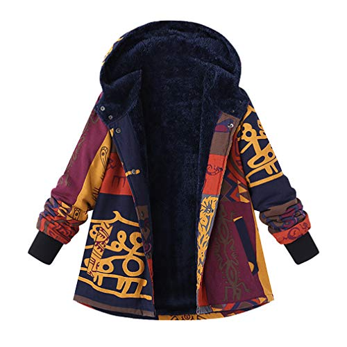 Plush Ocio Con Linen Warm De Fluffy Vistoso Jacket Retro Manga Casual Cotton Mxssi Coat Mujeres Capucha Fleece Ethnic Print Larga wv4waR