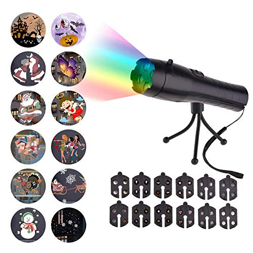 Christmas LED Projector Lights, Battery Operated 2 in 1 Kids Holiday Decoration Light Projectors & Handheld Flashlight with 12 Pattern Slides & Tripod for Xmas Halloween Easter Birthday Home Party