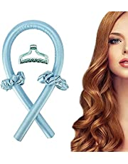 FEEGO Heatless Curling Rod Headband, No Heat Curls Silk Ribbon Hair Wave Formers Hair Curlers For Long Hair To Sleep In Overnight, No Heat Silk Curls Headband, Soft Foam Hair Rollers, Curling Ribbon and Flexi Rods for Natural Hair (BLUE)