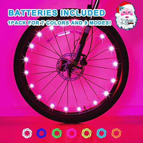 Exwell Bike Wheel Lights, 7 Colors in 1 Bike Lights,Safety at Night,Switch 9 Modes LED Bike Accessories Lights, AA Batteries(2 Pack)