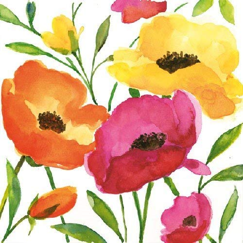 Aquarell Poppy 4 Paper Napkins for Decoupage 3-ply 33 x 33cm 4 Individual Napkins for Craft and Napkin Art.