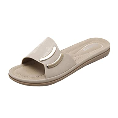 85a66ff98238 Women s Sliders OverDose Wide Fit Flat Sandals Casual Leather Sandals (36  ...