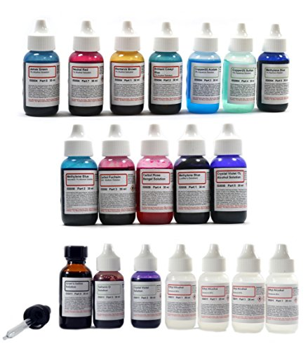 (Innovating Science Complete Stain Kit - Vital Stain, Bacteria Stain, and Gram's Stain Chemicals Set - 19 Bottles in Total)