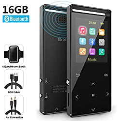 MP3 Player,MP3 Player with Bluetooth,16GB Music Player with FM Radio/Voice Recorder,HiFi Lossless Sound Quality,Metal, Alarm Clock, Touch Button, HD Sound Quality Earphone, with an Armband