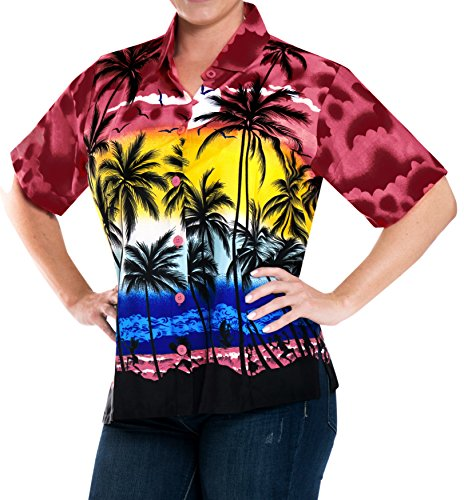 LA LEELA Likre Short Sleeve Collar Camp Shirt Bright Red 5|XXL - US 44 - 48C