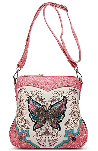 Western Tooled Leather Purse - Western Style Butterfly Tooled Leather Women Purse Cross Body Handbag Concealed Carry Single Shoulder Bag (Fuchsia)