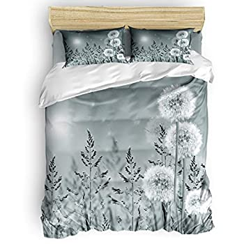 Image of Home and Kitchen Amaze-Home Queen Size Duvet Cover Set- Gray Dandelion Flower Bedding Sets Decorative Bedspread for Childrens/Kids/Teens/Adults,4 Piece 50% Cotton+50% Polyester,