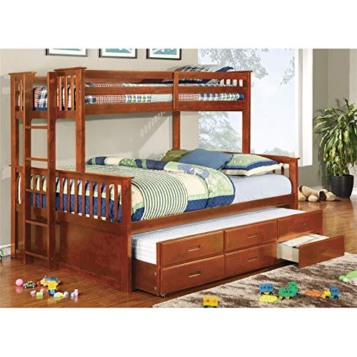 Furniture of America Frederick Twin Over Queen Bunk Bed with Trundle in Oak by Furniture of America