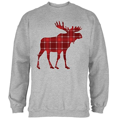Autumn Plaid Moose Mens Sweatshirt Heather X-LG Grey]()