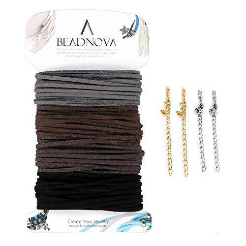 BEADNOVA 3mm Micro Fiber Lace Flat Leather Cord Faux Suede Beading Thread for Jewelry Making with 4pcs Crimp Extender Chains (Mix 4 Classic Earth Tone Colors Each 3.3 (Leather Jewelry Making)
