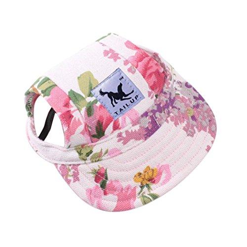 Sunbonnet Girl - Pet Hat, OOEOO Visor Cap with Ear Hole Summer Dog Cat Baseball Cap Puppy Hat Sunbonnet (Floral)