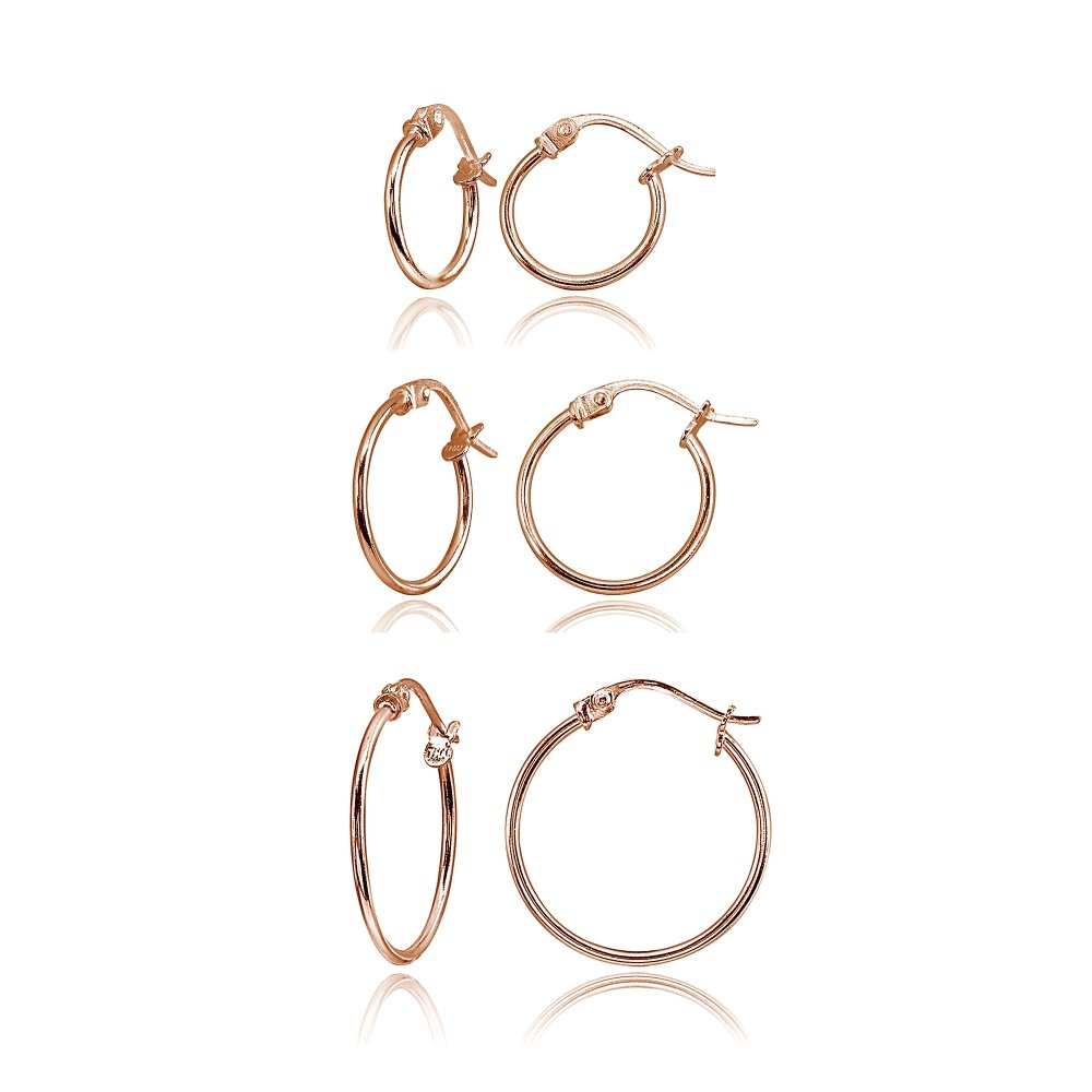 3 Pair Set Rose Gold Flashed Sterling Silver 1mm Small Polished Round Thin Unisex Click-Top Hoop Earrings, 12mm, 15mm, 20mm