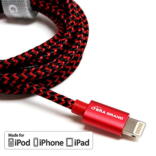 [Apple MFi Certified] Tera Grand Lightning to USB Braided Cable with Aluminum Housing, 4 Feet Red/Black for iPhone X 8 8 Plus 7 7 Plus 6 6s Plus 5s 5c SE iPad Pro Air Mini iPod