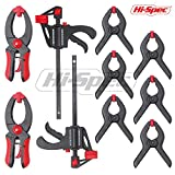 Hi-Spec 10Piece Quick Clamp & Ratcheting Clamp Set Including 2 x 4'' Ratcheting Bar Clamps with Quick Release and 8'' Spreader, 2x 5'' Quick Releasing Ratchet Clamps and 6x 3'' Nylon Spring Clamps