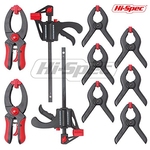 Hi-Spec 10Piece Quick Clamp & Ratcheting Clamp Set Including 2 x 4'' Ratcheting Bar Clamps with Quick Release and 8'' Spreader, 2x 5'' Quick Releasing Ratchet Clamps and 6x 3'' Nylon Spring Clamps by Hi-Spec Tools