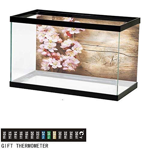 bybyhome Fish Tank Backdrop Floral,Spring Blossom Orchard,Aquarium Background,30