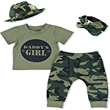 Waliwali Girls Summer Camouflage Clothes Daddy'Girl Letter Print Top + Camo Trousers + Sun Hat