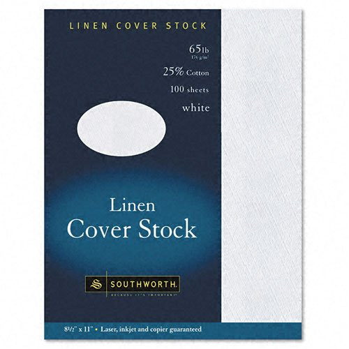 Southworth : 25% Cotton Linen Copy/Inkjet/Laser Coverstock, White, 65lb, Letter, 100 Sheets -:- Sold as 2 Packs of - 100 - / - Total of 200 Each