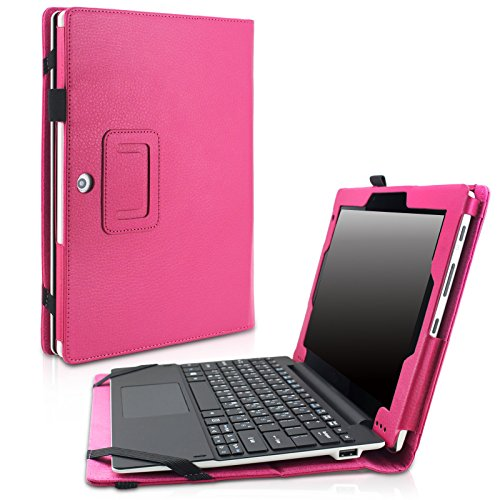 Acer Aspire Switch 10 E SW3-013 Case - Infiland Premium PU Leather Keyboard Portfolio Stand Case Cover For Switch 10 E SW3-013 10.1-Inch 2-in-1 Tablet PC Only, Magenta
