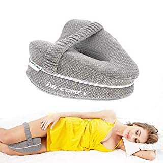 Dr. Comfy Knee Pillow, Orthopedic Memory Foam Leg Pillow for Hip Pain Sciatica, Leg Pain, Knees Pain, Joints Pain & Pregnancy Bed Leg Cushion for Side Sleepers