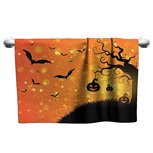 xixiBO Printed Bath Towel Super Dry W28 x L12 Halloween,Magical Fantastic Evil Night Icons Swirled Branches Haunted Forest Hill,Orange Yellow Black Easy to Dry Towel -