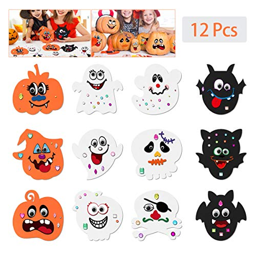 Cute Halloween Diy Crafts (Toyvian Halloween Pumpkin Craft Kit for Kids,EVA Foam DIY Pumpkin Decorating with 12 pcs Face Stickers, 24 Wiggle Eyes and 81pcs Diamond Stickers for Halloween)