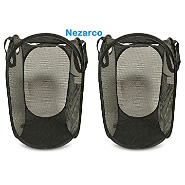 Nezarco Mesh Foldable Laundry Hamper Pop up Basket, Carrying Straps for Clothes and Toys, 2 Pack