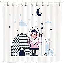 GoEoo Polar Region Shower Curtain By Cartoon Eskimo Warrior Cat Ice House Moon Star Bathroom Mildew Resistant Polyester Fabric Waterproof Shower Curtain Set With Hooks 69X70in