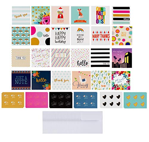 Bouquet Blank - 72-Pack All Occasion Mini Greeting Cards - Small Blank Note Cards for Birthday, Wedding, Baby Shower, Flower Bouquets, Gift Tags, Bulk Variety Pack with 72 Envelopes and 72 Stickers, 2.5 x 2.5 Inches