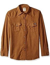 Men's Regular Fit Long Sleeve Brushed Flannel Solid Western Shirt