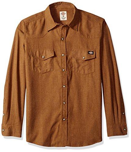 Dickies Men's Regular Fit Long Sleeve Brushed Flannel Solid Western Shirt, Brown Duck, Medium