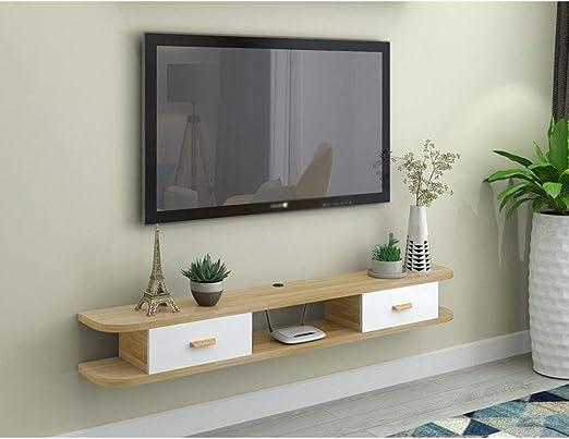 L&T Montado En La Pared TV Baldas con Puerta, Madera Medio Consola ...