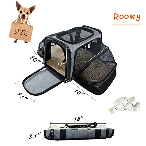 Pet Carrier for Dogs & Cats - Airline Approved Expandable waterproof Soft Animal Carriers -Portable Soft-Sided Air Travel Bag- Eco-friendly material Roomy With a Side Pocket and a Fleece Bed by Odie Tom (Image #3)
