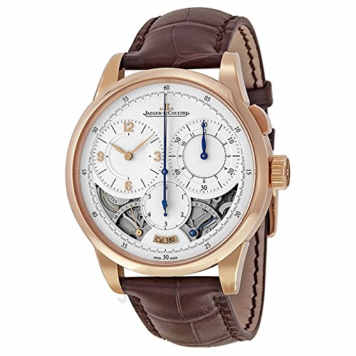 Jaeger LeCoultre Duometre Silver Dial 18kt Rose Gold Brown Leather Mens Watch Q6012521