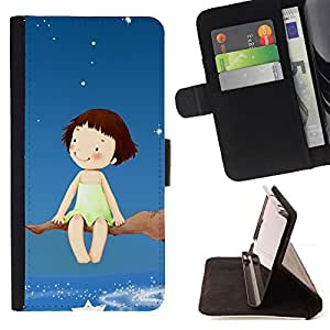 DEVIL CASE - FOR LG OPTIMUS L90 - Dream Tree Branch Stars Sky Girl Happiness Art - Style PU Leather Case Wallet Flip Stand Flap Closure Cover