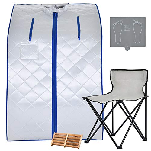 KUPPET Portable Infrared Home Spa, Infrared Negative Ion Portable Sauna, with Heating Foot Pad and Chair, Remote Control, 30 Minutes Timer (Infrared 36.6''H,Silver)