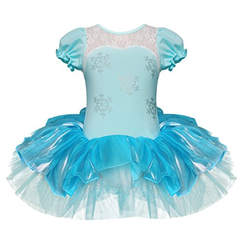 [FEESHOW Girls Embroidered Ballet Leotard Dance Tutu Dress Party Dancewear Costume Size 7-8 Blue] (Ice Skating Dress Costumes)