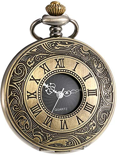 Mudder Vintage Roman Numerals Scale Quartz Pocket Watch with Chain (Bronze) Mudder Vintage Roman Numerals Scale Quartz Pocket Watch with Chain (Bronze)