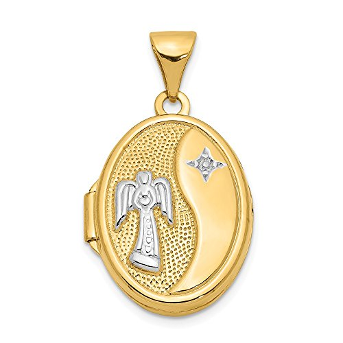 14k Yellow Gold 17mm Guardian Angel Oval Photo Pendant Charm Locket Chain Necklace That Holds Pictures Fine Jewelry Gifts For Women For Her