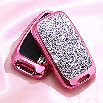 Royalfox TM 5 Buttons 3D Bling keyless Entry Remote Smart Key Fob case Cover for Land Rover Defender Discovery Sport LR2 LR3 LR4 Range Rover Sport EVOQUE and Jaguar XF XJ XJL XE F-PACE Silver