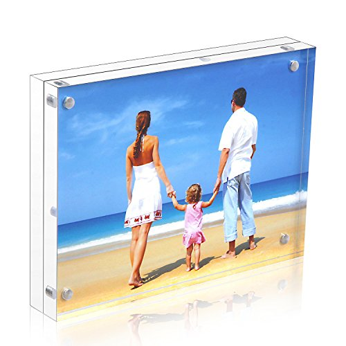 Niubee Acrylic Picture Frame 5x7, 20% Thicker Block Clear Double Sided Acrylic Photo Frames Frameless Desktop Display with Gift Box Package (24mm (Panel Photo Christmas Cards)