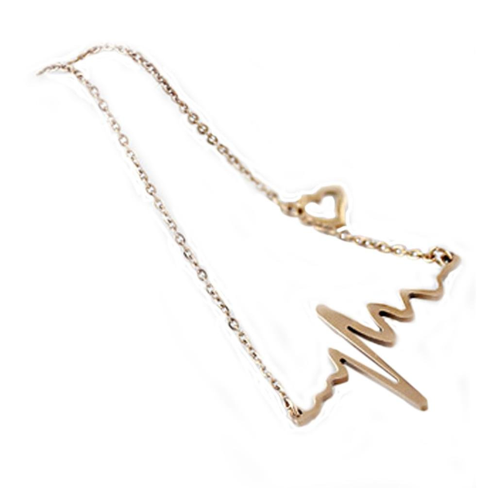 Laieng New Women EKG Necklace Heartbeat Rhythm with Love Heart Shaped (Gold)
